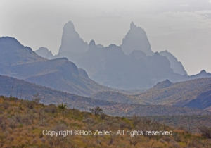 Mule Ears Peak in drizzly rain