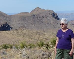 Ann at the Sotol Vista overlook high in the Chisos Mountains.