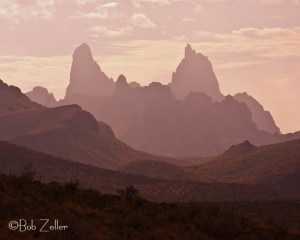 Mule Ears Peak at dusk.