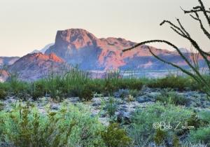 """Dawn Sun on Distant Mountain"" - Big Bend National Park"